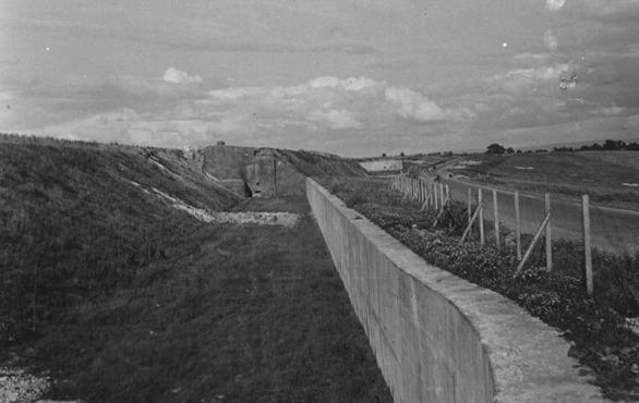 A view of the Maginot Line, a French defensive wall built after World War I to deter a German invasion. France, 1940.