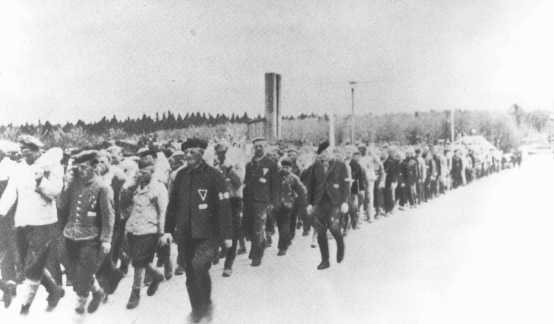 Returning from work in a stone quarry, forced laborers carry stones more than six miles to the Buchenwald concentration camp. Germany, date uncertain.
