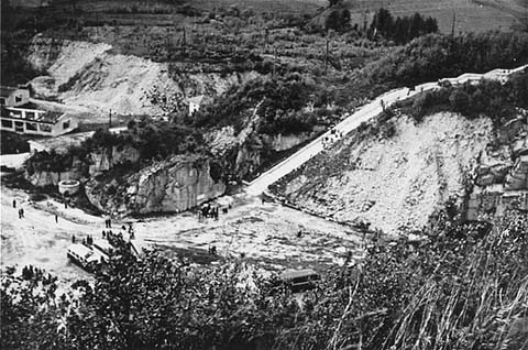 The quarry of the Mauthausen concentration camp. Austria, date uncertain.