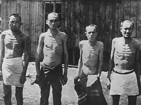 Soviet prisoners of war in the Mauthausen concentration camp. Austria, January 1942.