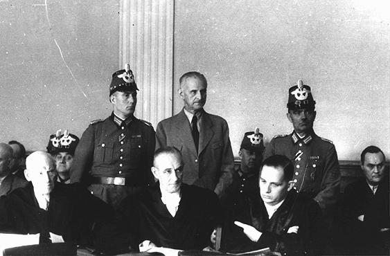 Carl Goerdeler, former mayor of Leipzig and a leader of the July 1944 conspiracy to kill Hitler, stands trial before the People's Court in Berlin. He was condemned and executed at Ploetzensee prison on February 2, 1945. Berlin, Germany, 1944.