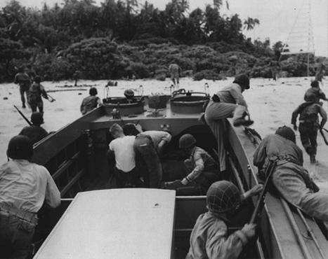 US troops land on Guadalcanal, in the Solomon Islands groups. Guadalcanal was the focus of crucial battles in 1942–1943. American victory in the Solomons halted the Japanese advance in the South Pacific. Guadalcanal, date uncertain.