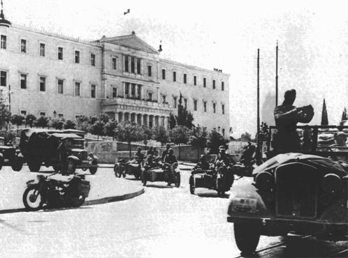 German troops in Athens following the invasion of the Balkans. Athens, Greece, wartime.