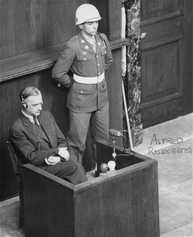 Former Nazi Party ideologist Alfred Rosenberg at the International Military Tribunal war crimes trial. Nuremberg, Germany, April 15, 1946.
