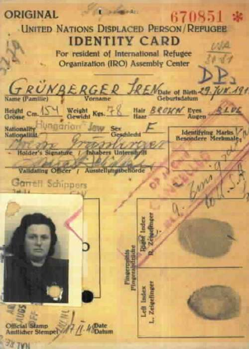 Displaced persons identity card for Goldie (Iren), Leipheim, Germany.