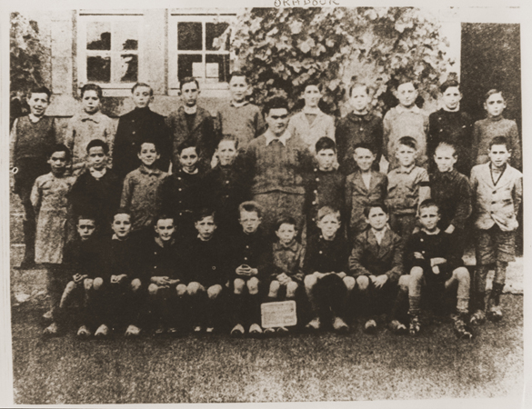 A class of boys from the school in Oradour. All of the people pictured here were killed by the SS during the June 10, 1944, massacre. Oradour-sur-Glane, France, photograph taken between 1940 and June 1944.