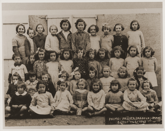 A school class of girls in Oradour. All of the children pictured were killed by the SS during the June 10, 1944, massacre. Oradour-sur-Glane, France, photograph taken 1942-1943.
