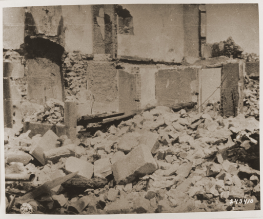 The ruins of Oradour-sur-Glane, destroyed by the SS on June 10, 1944. Oradour-sur-Glane, France, photograph taken in September 1944.