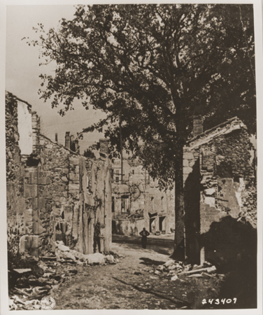 Ruins in Oradour-sur-Glane, France. The town was destroyed by the SS on June 10, 1944. Photograph taken in September 1944.
