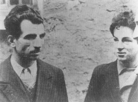 """اثنان من المناصرين الفرنسيين - ميساك مانيوشيان (يسار) وفولف فايسبروت (يمين) - ينتميان إلى مجموعة المقاومة المسلحة الفرنسية """"Francs-Tireurs et Partisans"""". قامت فرقة الإعدام بإعدامهما في 21 فبراير 1944. باريس، فرنسا، 1944."""