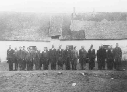 Roll call at an internment camp for Roma (Gypsies). Lackenbach, Austria, 1940-1941.