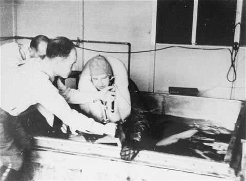 A victim of a Nazi medical experiment is immersed in icy water at the Dachau concentration camp. SS doctor Sigmund Rascher oversees the experiment. Germany, 1942.