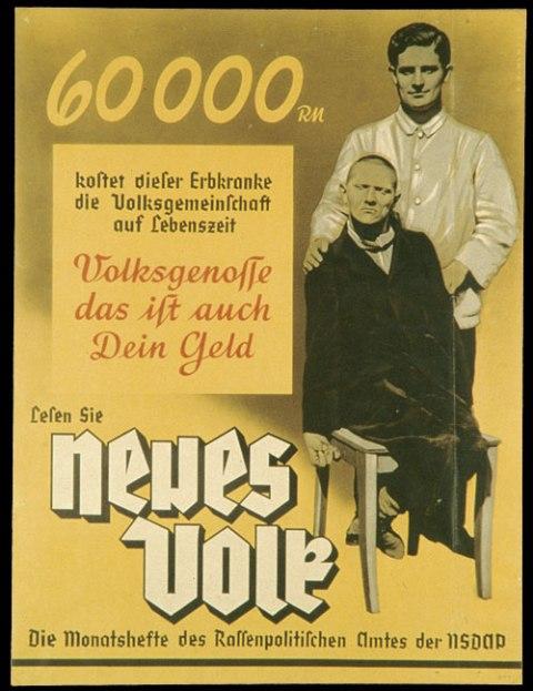 """Плакат, рекламирующий нацистский ежемесячный журнал """"Новые люди"""" (""""Neues Volk""""). Евреи были не единственной группой, исключенной из """"национального сообщества"""", каким его видели последователи Гитлера. Нацистский режим также отделил людей с умственными и физическими недостатками.  Надпись на плакате гласит: """"Содержание этого человека, страдающего наследственным заболеванием, будет стоить нашей национальной общине 60000 немецких марок. Граждане, это ваши деньги». Эта публикация, изданная Бюро расовой политики нацистской партии, подчеркивала бремя, взваленное на общество, теми, кто назван непригодными."""