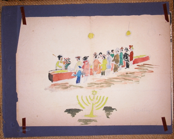 Children's painting showing of Jews celebrating Hannukah. This painting, which was probably drawn by either Michael or Marietta Grunbaum, was made in Theresienstadt and then pasted into a scrapbook by their mother shortly after liberation. Theresienstadt, Czechoslovakia, ca. 1943.