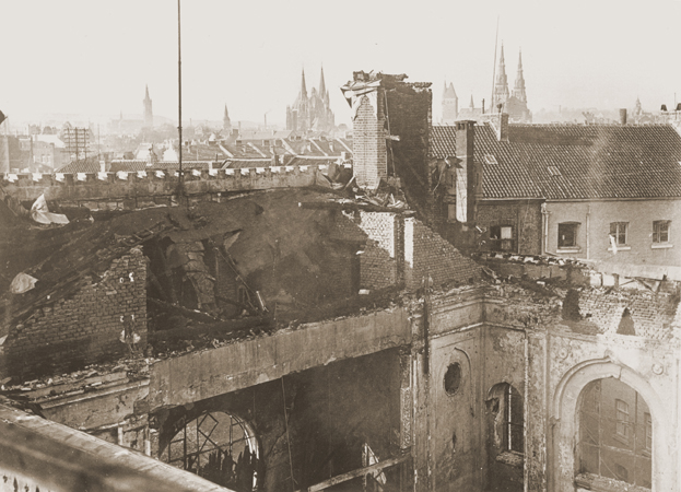View of the old synagogue in Aachen after its destruction on Kristallnacht. Aachen, Germany, photo taken ca. November 10, 1938.