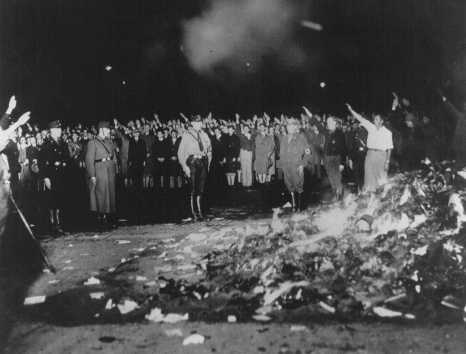 "Books and writings deemed ""un-German"" are burned at the Opernplatz. Berlin, Germany, May 10, 1933."