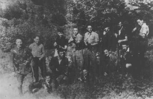 A group of Jewish resisters, members of a fighting organization (Organisation Juive de Combat). Mazamet, France, wartime.