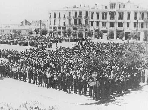 Some 7,000 Jewish men ordered to register for forced labor assemble in Liberty Square in German-occupied Salonika. Salonika, Greece, July 1942.