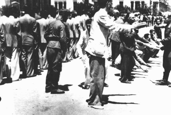 Public humiliation of Jews in Liberty Square during compulsory registration for forced labor. Salonika, Greece, July 1942.