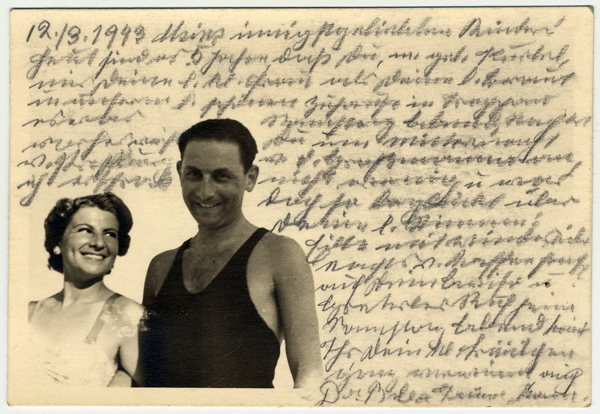 Photograph showing Kurt, Helene Reik's son, and his wife, while on vacation in April/May 1938 in Kupari, Croatia.  After her deportation to the Theresienstadt ghetto in Czechoslovakia, Helene yearned to record what was happening to her. This photograph was sent to Helene, who used it as paper for her diary in Theresienstadt. Helene's makeshift diary offers wistful memories of her husband and parents who died before the war, loving thoughts of her family who had left Europe in 1939, and a firsthand account of the illness and hospitalization that ultimately led to her death. Because resources were scarce in the Theresienstadt ghetto, Helene recorded her thoughts, recollections, and diary entries in the margins and on the backs of family pictures that she had brought with her, as well as postcards and letters she received while in the ghetto.