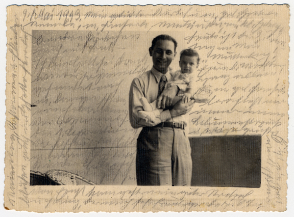 Photograph showing Kurt, Helene Reik's son, holding his baby Margarida, in Rio de Janeiro in 1940. After her deportation to the Theresienstadt ghetto in Czechoslovakia, Helene yearned to record what was happening to her. This photograph was sent to Helene, who used it as paper for her diary in Theresienstadt. Helene's makeshift diary offers wistful memories of her husband and parents who died before the war, loving thoughts of her family who had left Europe in 1939, and a firsthand account of the illness and hospitalization that ultimately led to her death. Because resources were scarce in the Theresienstadt ghetto, Helene recorded her thoughts, recollections, and diary entries in the margins and on the backs of family pictures that she had brought with her, as well as postcards and letters she received while in the ghetto.