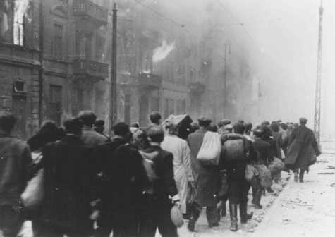 Deportation of Jews from the Warsaw ghetto during the ghetto uprising. Warsaw, Poland, May 1943.