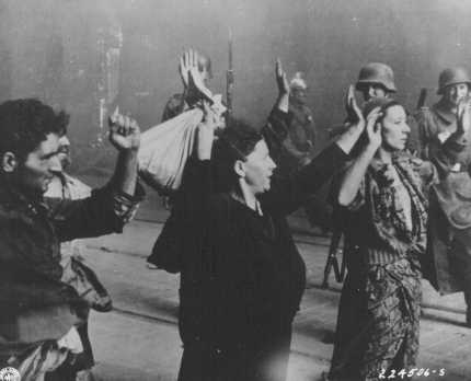 Jews captured during the Warsaw ghetto uprising. Warsaw, Poland, April 19-May 16, 1943.