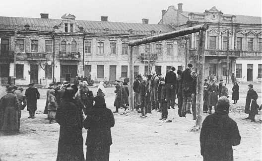 Polish partisans are hanged by the Nazis. Rovno, Poland, 1942.