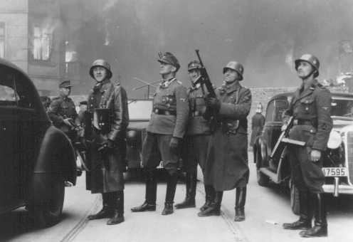 Juergen Stroop (third from left), SS commander who crushed the Warsaw ghetto uprising. Warsaw, Poland, between April 19 and May 16, 1943.