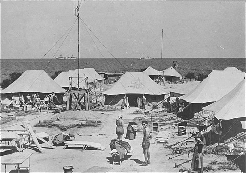 One of the tent camps used to detain Jewish displaced persons denied entry into Palestine by the British. Cyprus, August 1946-February 1949.