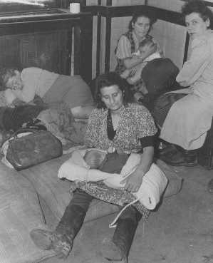 Jewish women and children who fled Poland as part of the Brihah, the postwar mass flight of Jews from eastern Europe, are sheltered in a reception center. Nachod, Czechoslovakia, summer 1946.