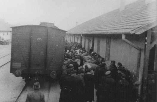 Deportation of Jews by Bulgarian occupation authorities. Skopje, Yugoslavia, March 1943.