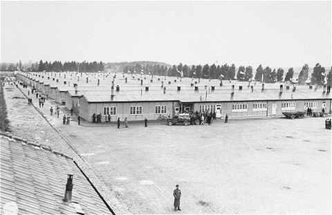 View of prisoners' barracks soon after the liberation of the Dachau concentration camp. Dachau, Germany, May 3, 1945.