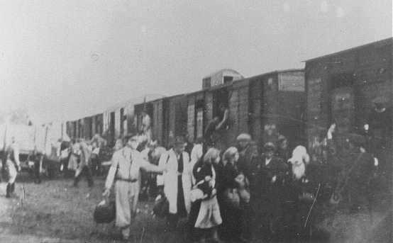 Deportation of Jews from the Warsaw ghetto. Warsaw, Poland, 1943.