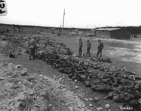 US troops view bodies of victims of Kaufering IV, a Dachau subcamp in the Landsberg-Kaufering area. Germany, April 30, 1945.
