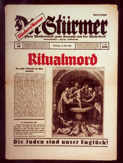 Front page of the most popular issue ever of the Nazi publication, Der Stürmer, with a reprint of a medieval depiction of a purported ritual murder committed by Jews.