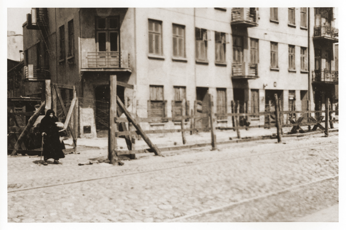 View of the entrance to the Gypsy camp on Brzezinska Street in the Lodz ghetto. Lodz, Poland, 1942.