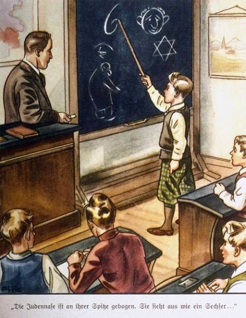 "Page from The Poisonous Mushroom. This photograph shows a page from one of several antisemitic children's books published by Julius Streicher's Der Stürmer-Verlag. The text reads, ""The Jewish nose is crooked at its tip. It looks like the number 6."""
