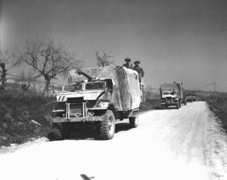 Soldiers and vehicles of the Jewish Brigade, which participated in the final Allied offensive in Italy. Italy, March 24, 1945.