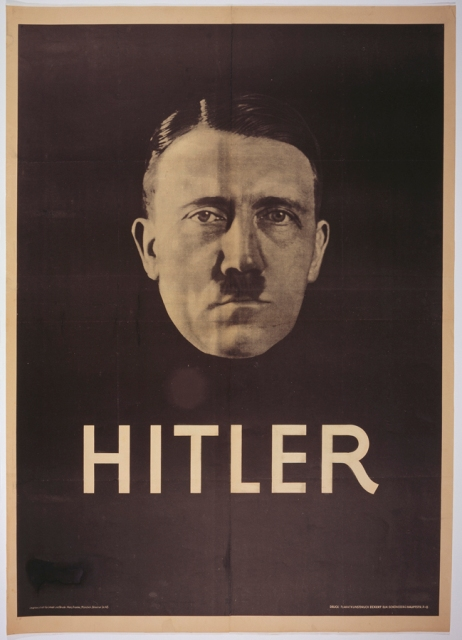 Modern techniques of propaganda—including strong images and simple messages—helped propel Austrian-born Adolf Hitler from being a little known extremist to a leading candidate in the 1932 German presidential elections. The style of this poster is similar to some of film stars of the era. Election poster, 1932; photo by Heinrich Hoffmann