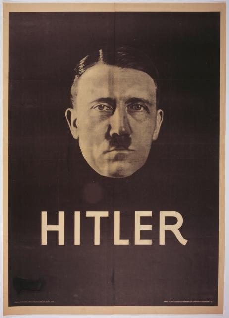 선전 선동의 현대적 기법—강력한 이미지와 단순한 메시지의 사용-은 1932년 대통령 선거에서 오스트리아 출신 아돌프 히틀러를 무명의 극단주의자에서 일약 유력한 후보로 탈바꿈시켰다.   이러한 스타일의 포스터는 그 시대 유명 영화배우의 것과 흡사하다. 1932년 선거 포스터, 하인리히 호프만 촬영