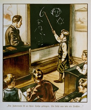 """Una ilustración de un libro antisemita alemán para niños, DER GIFTPILZ (El hongo venenoso), publicado en Nuremberg, Alemania en 1935. El título lee: """"La nariz judía es torcida, parece un 6""""."""