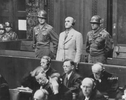 Defendant Oswald Pohl is sentenced to death by hanging. November 3, 1947.