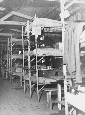 The interior of a barracks at the Westerbork transit camp, after liberation. Westerbork, the Netherlands, after April 12, 1945.