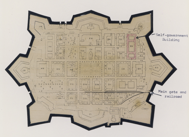 Map of Theresienstadt from an original document (1942-1945) and mounted in an album assembled by a survivor.