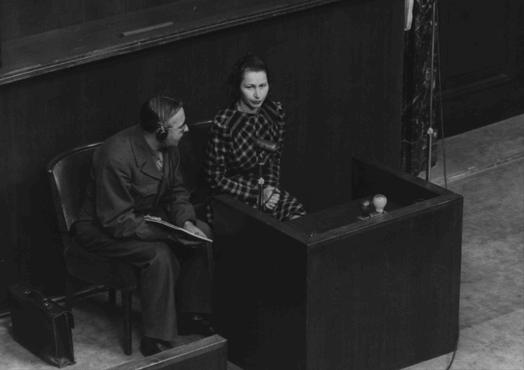 Wladislava Karolewska, a victim of medical experiments at the Ravensbrueck camp, was one of four Polish women who appeared as prosecution witnesses at the Doctors Trial. Nuremberg, Germany, December 22, 1946.