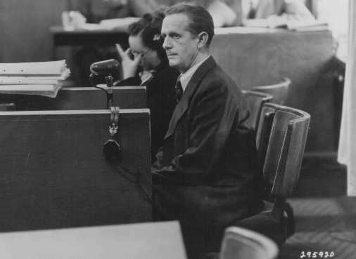 Defendant Mathias Graf testifies in his own defense at the Einsatzgruppen Trial. January 7, 1948.