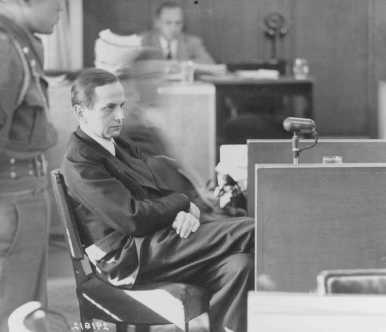 Defendant Otto Ohlendorf testifies on his own behalf at the Einsatzgruppen Trial. October 9, 1947.
