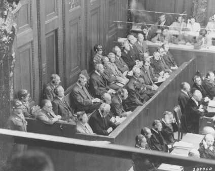The defendants' dock on the first day of the I. G. Farben Trial. August 27, 1947.