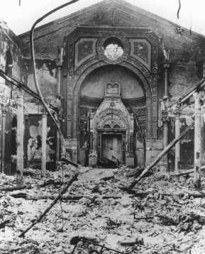 Ruins of a synagogue destroyed during anti-Jewish rioting. Bucharest, Romania, January 1941.